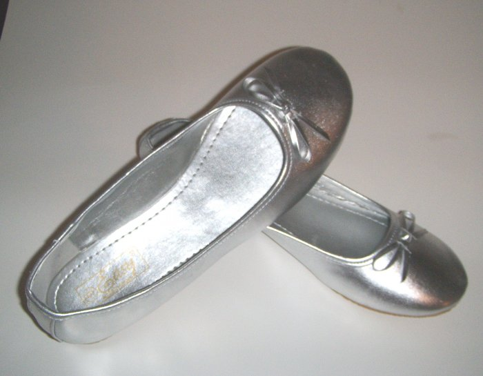 Women Silver Ballet Slippers Shoes Wedding Bridal Prom Flats Size 8