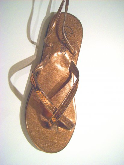 Women Bronze Metallic Sequin Gladiator Sandals Flats Shoes Ankle Wrap Up Size 9/10