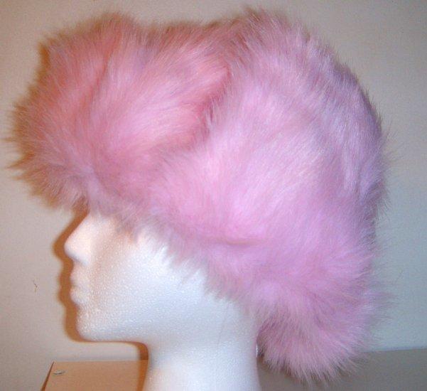 Women Russian Pink Faux Fur Trooper Trapper Hunter Ski Winter Coat Hat Cap