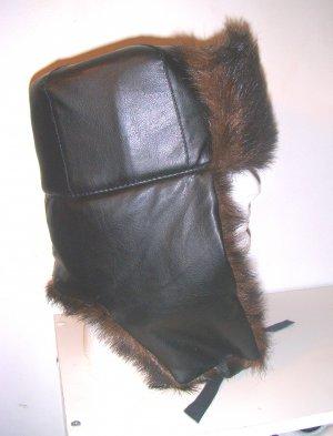 Men Women Russian Faux Leather Fur Trooper Ski Hat Cap