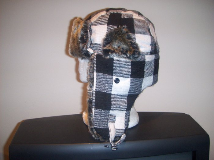 Men Women Buffalo Plaid Checker Trooper Trapper Hunter Ski Winter Coat Hat Cap Lumberjack