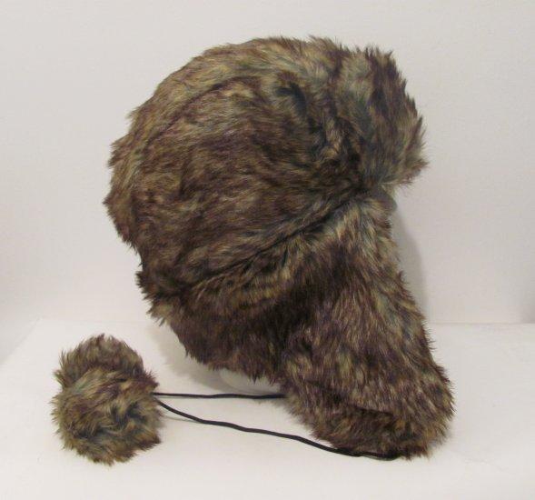 Men Women  Brown Russian Faux Fur Trooper Trapper Hunter Ski Winter Coat Hat Cap