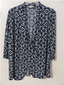 Brand New Women Plus Size 1X Tunic Cardigan Cover Shirt Dress Tops 3/4 Sleeve