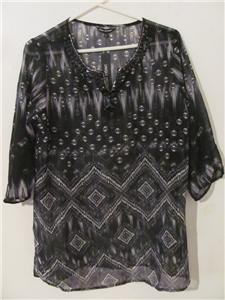 Brand New Women Size Large Tunic Geometric Shirt Blouses Tops 3/4 Sleeves