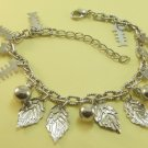 Fishbones Leaf Leaves Balls Rhodium Anklet / Bracelet