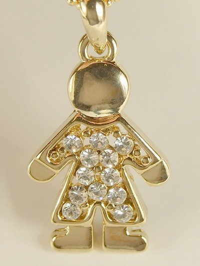 Boy Doll Gold Plated Gilt Pendant Charm Chain Necklace