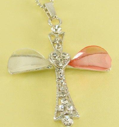 Christian Cross Pendant Charm Rhodium Chain Necklace