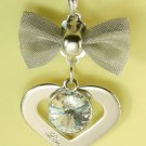 Bow Love Heart Pendant Charm Rhodium Chain Necklace NEW