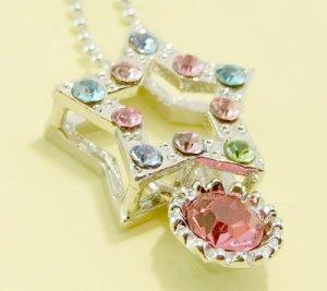 NEW Colorful Multicolor Star Pendant Charm Rhodium Chain Necklace