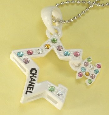 White Star Metal Pendant Charm Chain Necklace