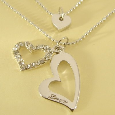 LOVE Engrave Triple Hearts Pendant Double Chain Necklace