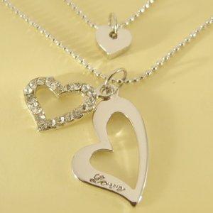 LOVE Engrave Triple Hearts Pendant Double Chain Necklace
