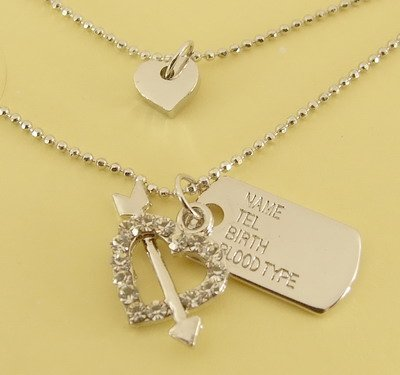Arrow through Heart & Tag Pendant Charm Double Chain Necklace