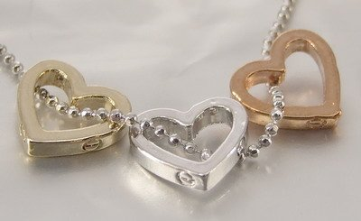 3 TONE Silver Gold Copper Hearts Pendants Charm Chain Necklace