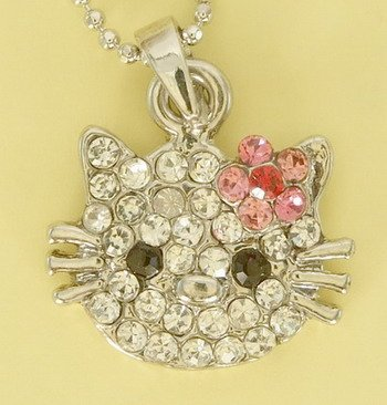 Kitty Cat Kitten Pink Flower Pendant Rhodium Charm Necklace