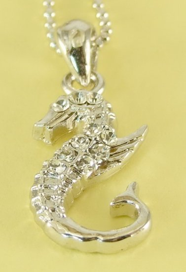 Seahorse Animal Pendant Charm Rhodium Chain Necklace