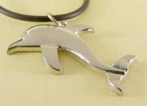 Dolphin Pendant Charm Rubber Chain Necklace