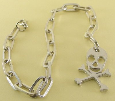 Skull and Cross Bones , Jolly Roger Rhodium Anklet / Bracelet  26 cm.