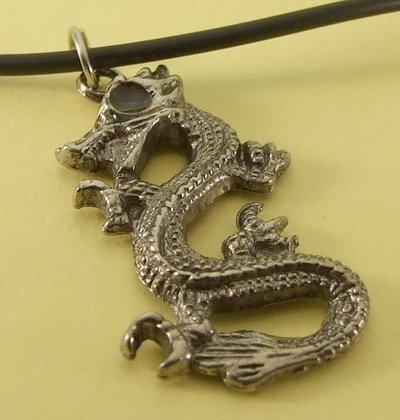 Dragon Pendant Charm Rubber Chain Necklace