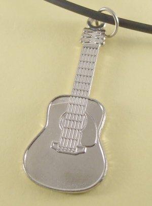Guitar Pendant Charm Rubber Chain Necklace