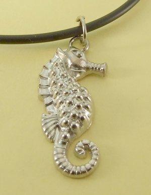 Seahorse Pendant Charm Black Rubber Chain Men Necklace