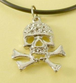Skull and Cross Bones Pendant Rubber Chain Necklace