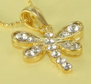 Golden Dragonfly Gold Plated Gilt Pendant Charm Chain Necklace