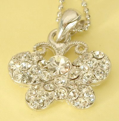Silver Butterfly Pendant Charm Rhodium Necklace Chain