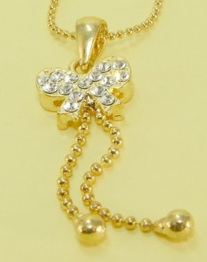 Golden  Gold  Plate Gilt  Bow  Pendant  Chain  Necklace