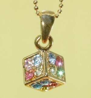 Colorful  Dice  Cube  Pendant  Chain  Necklace