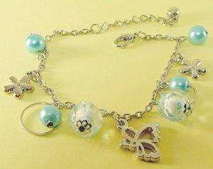 Blue Balls Beads & Butterfly Rhodium Anklet / Bracelet