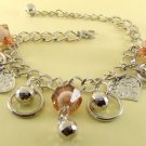 Brown Crystal Beads & Leaves Rhodium Anklet / Bracelet