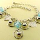 Blue Crystal Beads & Leaves Rhodium Anklet / Bracelet
