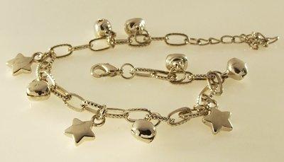 The Little Stars and Bells Rhodium Anklet / Bracelet 25 cm.