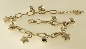 The Little Stars and Bells Rhodium Anklet / Bracelet 25 cm.