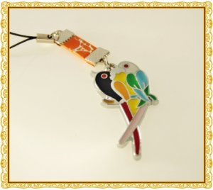 Parrots  Birds  Couple  Pair  Lover  Cell  Phone  Charm,  Mobile Key Chain