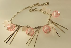 Pink Balls Beads Rhodium Anklet / Bracelet