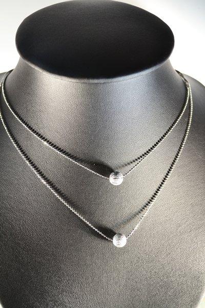 Silver Ball Pendant Double Twice Rhodium Chain Necklace