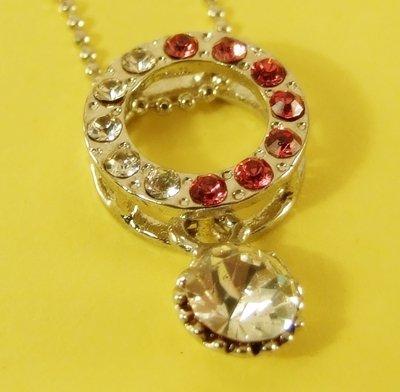Circle Hoop O Shape Pendant Charm Rhodium Chain Necklace