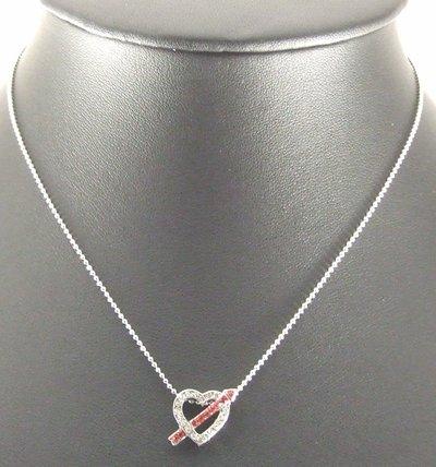 Love Arrow Heart Pendant Charm Chain Rhodium Necklace
