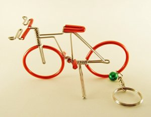 Red  Bicycle  Bike  Aluminium  Wire  Model  Handmade  Craft