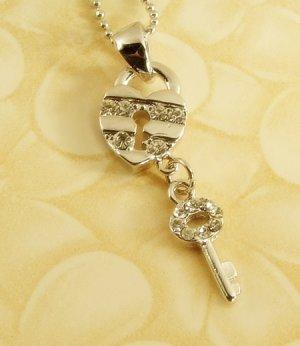 Love Key & Lock  Heart  Lover  Pendant  Charm  Rhodium  Necklace  Chain