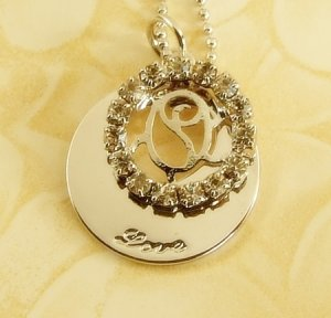 Rose &  Heart  Lover  Pendant  Charm  Rhodium  Necklace  Chain