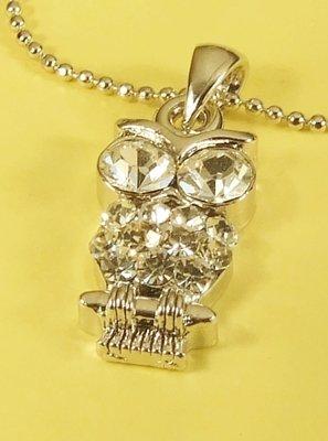 Owl Bird Animal Pendant Charm Rhodium Necklace Chain