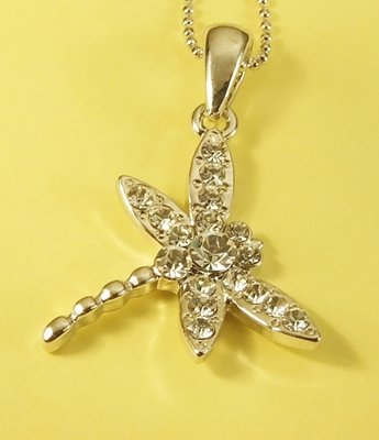 Dragonfly Insect  Pendant Charm Rhodium Necklace Chain