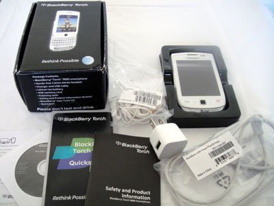 Unlocked AT&T Blackberry Torch 9800 WHITE GSM GPS Touch Screen with Keyboard