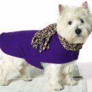 X Small Dog Leopard Scarf Coat - Grape