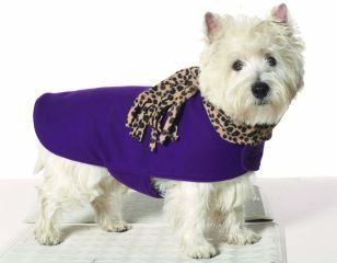 Small Dog Leopard Scarf Coat - Grape