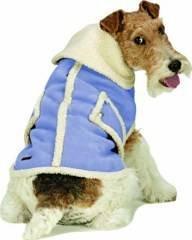Medium Dog Suede Faux Shearling Coat - Blue