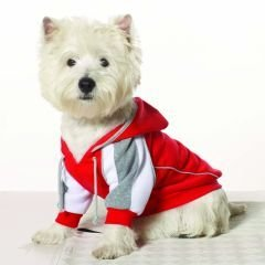Small Dog Athletic Hoodie - Red/Gray